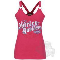 Amazon.com: Harley-Davidson Womens Elemental Break Racerback with O-Rings Pink Sleeveless Tank: Clothing