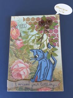 Kaart met Tim Holtz grazy cats,  thinlits mixed media #1, tiny tattered florals en garden greens van Monique