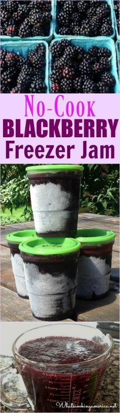 No Cook Freezer Blackberry Jam Recipe - Blackberries - Ideas of Blackberries - No-Cook Blackberry Freezer Jam Recipe Freezer Jam Recipes, Jelly Recipes, Freezer Cooking, Canning Recipes, Fruit Recipes, Freezer Meals, Recipies, No Cook Recipes, Drink Recipes