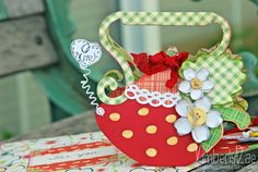 This is so cute, made by KimberlyRae.  Mom would love this sweet Strawberry Teapot!  From LUNCH WITH MOM SVG KIT.