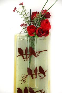 Earth Tone Decorated Wall Vase fused glas art by virtulyglass, $40.00