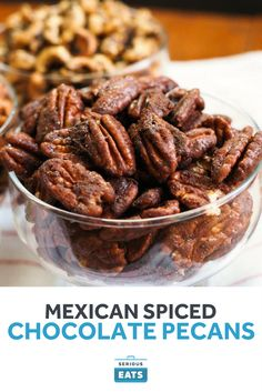 Mexican-Spiced Chocolate Pecans From sweet to savory, spiced nuts are delicious snacks worth having on hand. These chocolaty nuts are flavored with warm spices like cinnamon and nutmeg, then get a kick from some cayenne pepper. Pecan Recipes, Cooking Recipes, Smoker Recipes, Cooking Tips, Delicious Snacks, Savory Snacks, Spiced Pecans, Roasted Nuts, Pecan Nuts