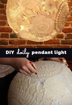 37 Insanely Cute Teen Bedroom Ideas for DIY Decor DIY Doily Pendant Lighting – Cool Bedroom Decor Ideas and Creative, Homemade Lighting Ideas – Creative Room Decor Ideas For Teens – Cheap DYI Lights Decor Crafts, Diy Room Decor, Easy Crafts, Diy And Crafts, Bedroom Decor, Bedroom Lighting, Bedroom Crafts, Wall Decor, Upcycled Crafts