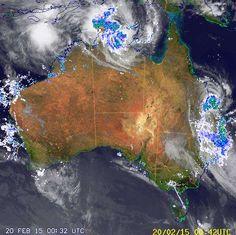 National Radar image:     01:58 UTC  Fri 20 Feb 2015 http://www.bom.gov.au/products/national_radar_sat.loop.shtml