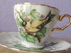 vintage yellow bird tea cup and saucer set 1950's by ShoponSherman, $29.00