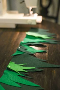 Garland of felt leaves for Peter Pan themed party