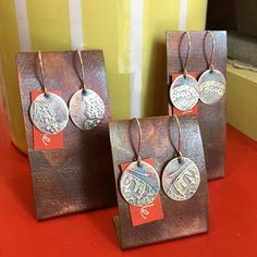 butterfly medallion earrings Mixed Metals, Metal Working, Butterfly, Earrings, Handmade, Ear Rings, Stud Earrings, Hand Made, Metalworking