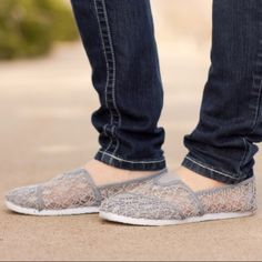 Gray Lace Slip-on A fun and flirty shoes for your everyday casual look. Comfy and cute nylon mesh! Check my closet for more colors. Rockland Shoes Flats & Loafers