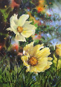 "Lin, Ching-Che watercolor flowers---- "" Tender words we spoke to one another are sealed in the secret vaults of heaven. One day like rain, they will fall to earth and grow green all over the world. Art Floral, Watercolor Flowers, Watercolor Paintings, Watercolors, Botanical Art, Beautiful Paintings, Flower Art, Amazing Art, Beautiful Flowers"