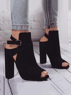 Peep Toe Buckle Damenmode Sandalen High Heels Schuhe - Frauen Schuhe Mode - Hints for Women Peep Toe Ankle Boots, Black Ankle Boots, Shoe Boots, Black Heels, Women's Boots, Black Booties, Boot Heels, Cowboy Boots, Cowboy Cowboy