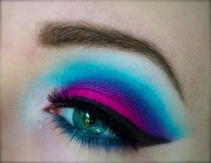 Look deconstruction: Colorburst with pink for small lids, and add contouring with dark and light blue. Blend blend blend at the edges to bring  out the purple. Finish with liner and highlight the brow bone. https://www.makeupbee.com/look.php?look_id=88334