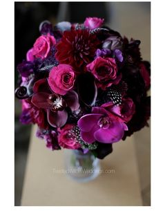 Dark Purples Orchids Polka Dot Feathers Bridal Bouquet