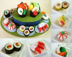 The item consists of :  •Rotating Sushi Table  •Hand roll Sushi  •Green beans Shrimp Sushi  •Salmon Cod Roe Sushi  •Arctic Surf Clams  •Green pea rice ball  •Sashimi Sushi  •Big Hand roll Sushi  •Big Shrimp