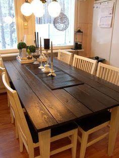 Uutta Vanhaa Lainattua: Keittiön pöytä Outdoor Tables, Dining Table, Rustic, Kitchen, Furniture, Villa, Home Decor, Sweet, Mesas