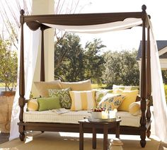 Balinese Daybed with Canopy for Patio  Balcony Design Pictures