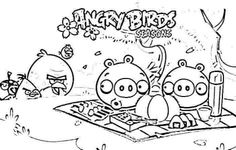 ANGRY BIRDS PICNIC PIGS COLORING PAGES