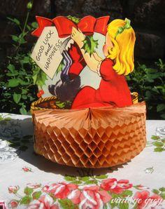 Vintage Christmas Greeting Card ~ Little Girl Honeycomb Greeting Card