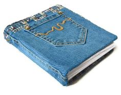 Denim Jean Journal with Pockets - Gem and Rhinestud - Flannel Lined
