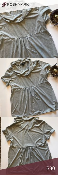 INC 2X Shimmery gray short sleeve top This cute short sleeve top has a cowl neck, gathers at center in front and back for a flattering look and would look adorable with leggings and booties. Made of 65 polyester/35 rayon. Machine wash cold INC International Concepts Tops