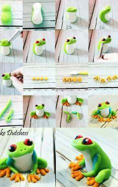 Tree Frog Tutorial by Cake Dutchess. Another fabulous picture tutorial!Green Tree Frog Tutorial by Cake Dutchess. Another fabulous picture tutorial! Polymer Clay Kunst, Polymer Clay Animals, Fimo Clay, Polymer Clay Projects, Polymer Clay Creations, Polymer Clay Figures, Cake Dutchess, Frog Cakes, Fondant Tutorial