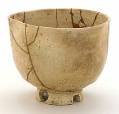Repaired Tea Bowl, Edo Period. Kintsukuroi is the art of mending broken pottery with lacquer and silver or gold. The philosophy behind this reparation is that something should not be discarded just because it is broken. It is in fact more beautiful for having been broken.