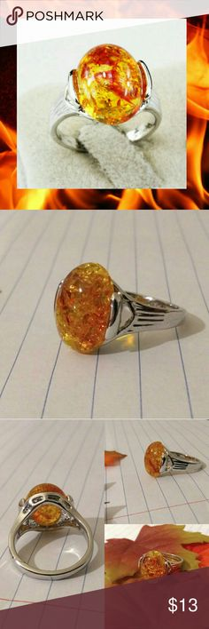 🆕 Firey Amber Gemstone Silver Fashion Ring Size 8 Beautiful Firey Amber Gemstone 925 Sterling Silver Plated Fashion Ring Very beautiful Size 8  Brand New high quality What u see is what u get Offers Welcome Buy with confidence Posh Ambassador  ♡ After 3yrs long distance relationship, my sweetie popped the question on 5-21-2017 during my visit. We r raising the $ ourselves 4 Visa fees, airfare n finally our wedding Plz Follow n share to help us reach our goal ♡Thank u♡ Jewelry Rings