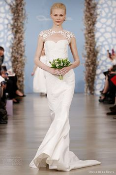 www.oscardelarenta.com, Oscar de la Renta spring 2014 bridal runway cap sleeve gown