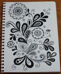 paisley/flower doodle, inspiration for carved ornaments Tangle Doodle, Doodles Zentangles, Zen Doodle, Doodle Art, Doodle Designs, Doodle Patterns, Zentangle Patterns, Doodle Borders, Paisley Doodle