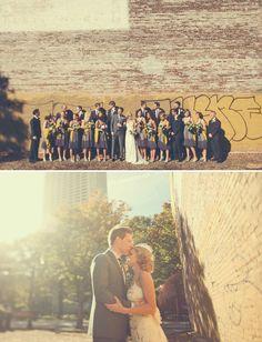 beautiful colors, gray suits, grayish purple bridesmaid dresses