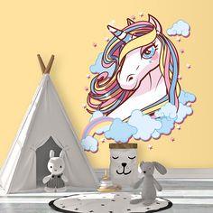 Original vinilo decorativo con la imagen de un unicornio en las nubes. Llena de fantasía la habitación de los más pequeños con este precioso vinilo.