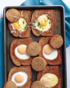 Get fanciful with breakfast! Score big with kids and guests alike by taking the classic sunny-side-up eggs with toast, and combining them into one tasty dish. Then quickly remove the baking sheet from the oven and crack open eggs into the holes.
