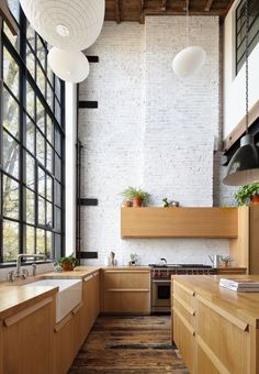 Home Interior Design — Double height kitchen with steel framed windows. Home Decor Kitchen, Kitchen Interior, Home Kitchens, Kitchen Ideas, Loft Kitchen, Decorating Kitchen, Apartment Kitchen, Apartment Ideas, Home Design