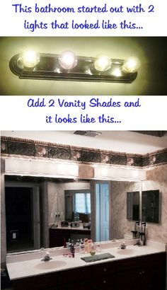 "Update your bathroom in minutes with a Vanity Shade from Vanity Shades of Vegas. Add elegance and sophistication while diffusing the harsh light of those horrible ""Hollywood style"" vanity lights. Visit vanityshadesofvegas.com"