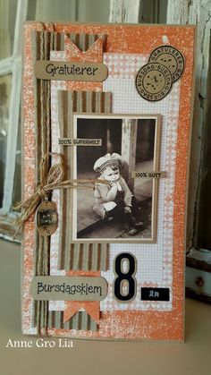 min lille scrappe-verden: Bursdagsgutt (DT for Kort & Godt) Kids Cards, Baby Cards, Card Tags, I Card, Diy Nightstand, Shabby Chic Cards, Handmade Tags, Vintage Tags, Journal Covers