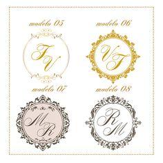 Arte digital de Monograma para casamento. <br> <br>Personalizamos com as iniciais dos noivos. <br> <br>Você poderá escolher entre as cores: dourado, cinza, preto ou branco. <br> <br>Nos mande no pedido as iniciais dos noivos e enviamos por email o monograma para aprovação. <br> <br> <br>Obs: Se preferir também podemos fazer a papelaria personalizada com o monograma escolhido - nos consulte!