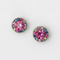 Color Gem Framed Pink Crystal Stud Earrings