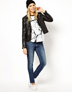 Love this ASOS maternity tee w/ a leather jacket.