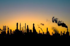 Union Oil Refinery at sunset. It is very unfortunate to have a beautiful California sunset polluted by smoke from the local refinery.