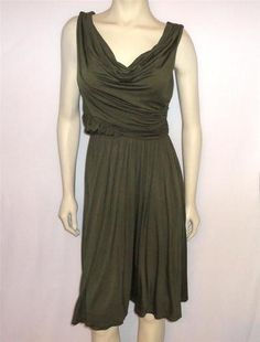 9119e56828b7 DELETTA ANTHROPOLOGIE Sz M Green Ruched Shirred Knit Dress Draped Draped  Dress, Knit Dress,