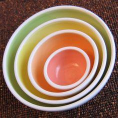 Summer Fruits Nesting Bowls Large Set of Stoneware by KarinLorenc. $88.00 USD, via Etsy.