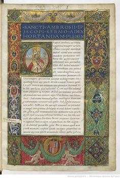S. Ambrosius Mediolanensis , Sermones . S. Maximus Taurinensis , Sermones . S. Basilius episcopus Caesariensis , Sermones . -- 1488 -- manuscrits