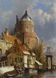 Willem Koekkoek (Amsterdam 1839-1895 Nieuwer-Amstel (Amstelveen)) Winters stadsgezicht met oude vestingtoren - Kunsthandel Simonis en Buunk, Ede (Nederland).