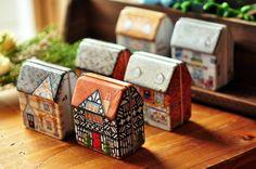 Mini europe style small house tin box home storage organization metal candy box storage box metal box free shipping 6pcs/lot