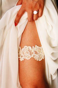 Wedding Garter Bridal Garter  Ivory Beaded Flower by NAFEstudio