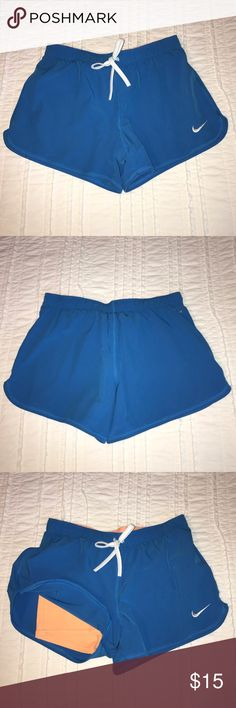 Nike Dri-Fit Running Shorts with Compression Built-in compression shorts; bright blue and orange Nike Shorts