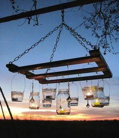 pallet furniture ideas frame garden lighting marmalade jars candles