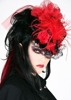 Gothic Hats, Gothic Accessories, Goth Hat, Goth Accessories, feathered hats, alice in wonderland hats