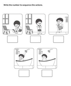 Picture Sequence Learning, Arrange Series of Pictures, Picture Sequencing Worksheets for Kids.