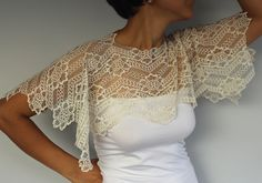 Ivory Lace Bridal Shrug Bolero. Handmade and by MammaMiaBridal, $33.00