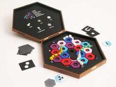 A wooden version of Settlers of Catan from Swedish artist Love Hultén. (site with frame... you'll find it under artifacts/nybyggare i rymden)  http://www.lovehulten.com/